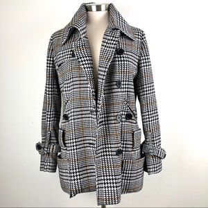 CoffeeShop | Classic Houndstooth Plaid Peacoat